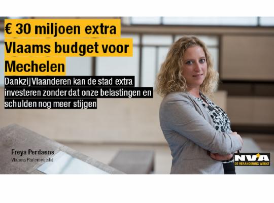 Freya Perdaens 30 miljoen extra voor Mechelen
